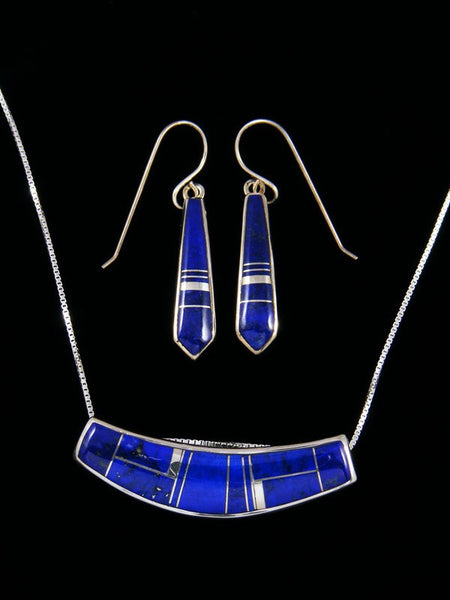 Navajo Blue Lapis Inlay Choker and Earrings Set