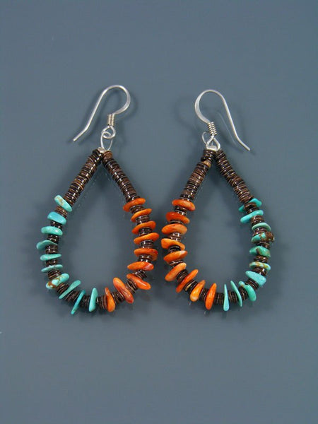 Turquoise and Spiny Oyster Heishi Bead Dangle Earrings