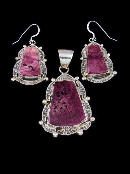 Navajo Sterling Silver Purple Spiny Oyster Necklace Earrings Set