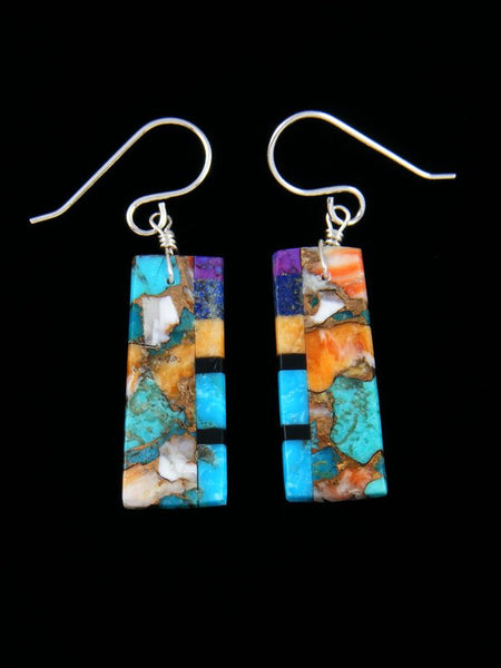 Santo Domingo Turquoise and Spiny Oyster Mosaic Dangle Earrings