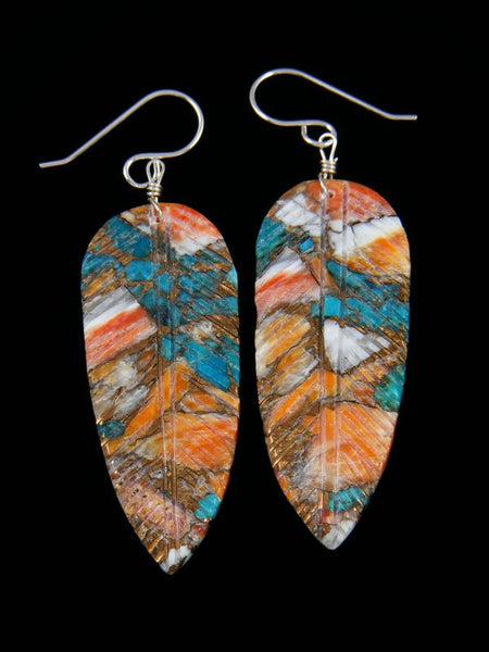Santo Domingo Turquoise and Spiny Oyster Feather Dangle Earrings