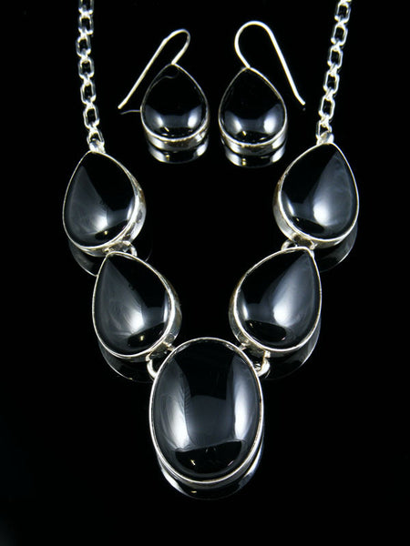 Sterling Silver Onyx Necklace by Lyle Piaso - PuebloDirect.com - 1