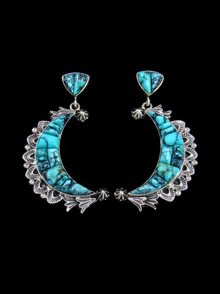 Native American Natural Turquoise Inlay Crescent Moon Earrings