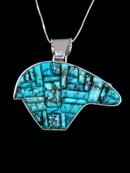 Reversible Natural Turquoise Cobblestone Inlay Sterling Silver Bear Pendant
