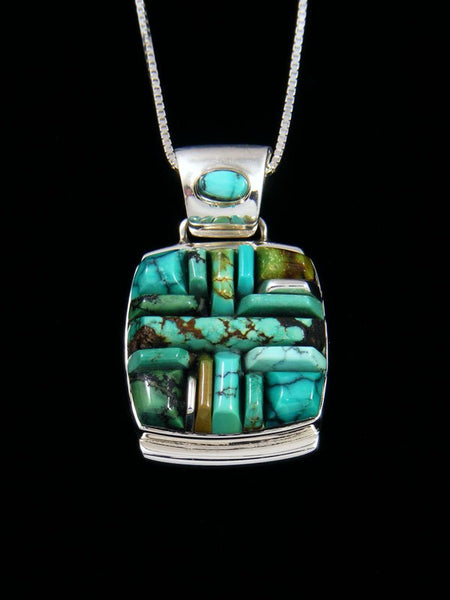 Native American Sterling Silver Turquoise Cobblestone Inlay Pendant