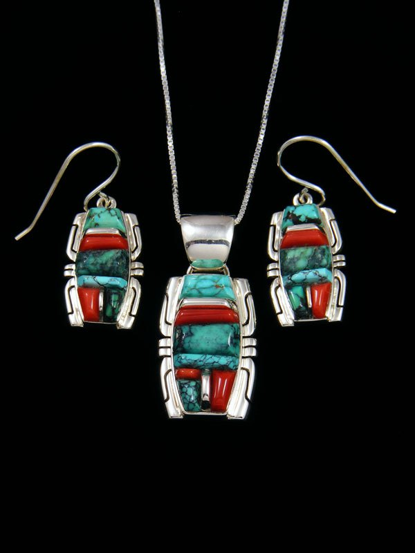 Natural Turquoise and Coral Navajo Inlay Pendant and Earrings Set
