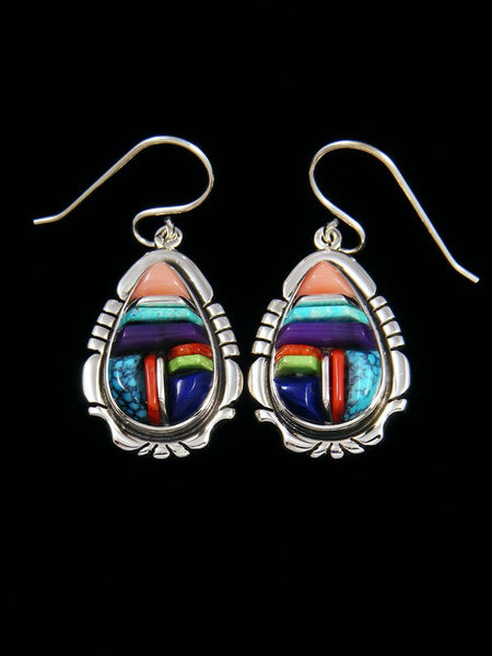 Native American Multi-Stone Cobblestone Inlay Dangle Earrings