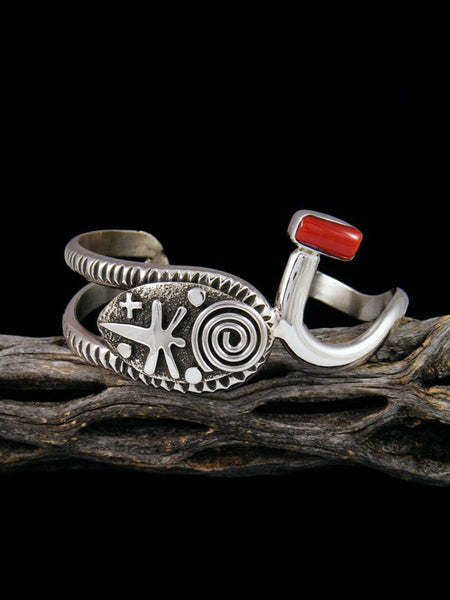 Navajo Sterling Silver Natural Coral Cuff Bracelet