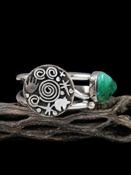 Navajo Sterling Silver Royston Turquoise Petroglyph Cuff Bracelet