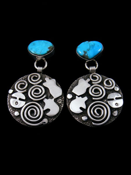 Navajo Sterling Silver Turquoise Petroglyph Post Earrings