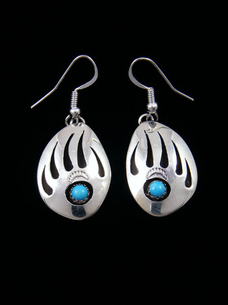 Navajo Bear Paw Dangle Earrings with Turquoise