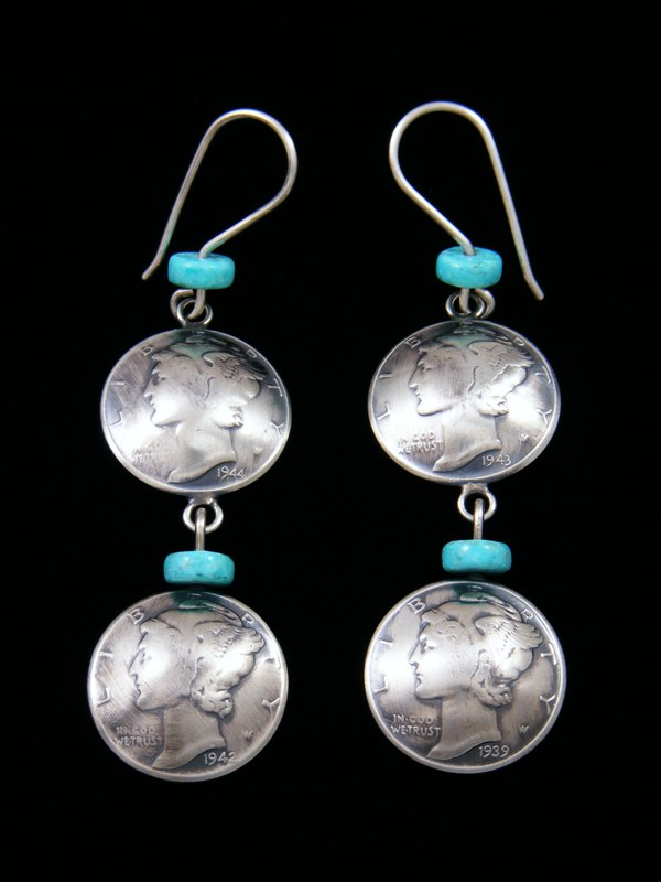 Navajo Liberty Head Dime and Turquoise Sterling Silver Dangle Earrings