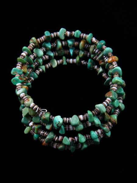 Native American Turquoise and Heishi Bead Wrap Bracelet
