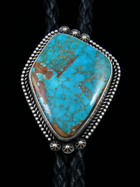 Native American Sterling Silver Pilot Mountain Turquoise Bolo Tie