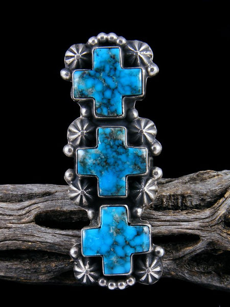 Kingman Web Turquoise Triple Cross Sterling Silver Ring, Size 7