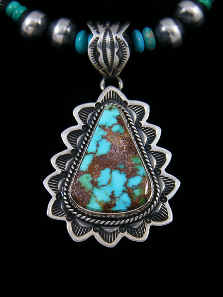 Native American Royston Turquoise Pendant With Bead Necklace