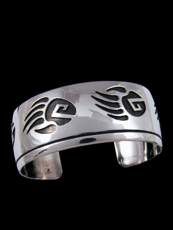 Native American Sterling Silver Overlay Bear Claw Cuff Bracelet