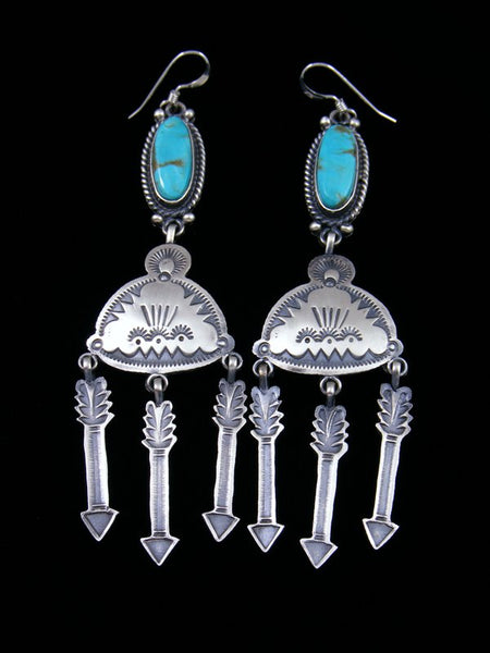 Navajo Sterling Silver Turquoise Rain Cloud Dangle Earrings