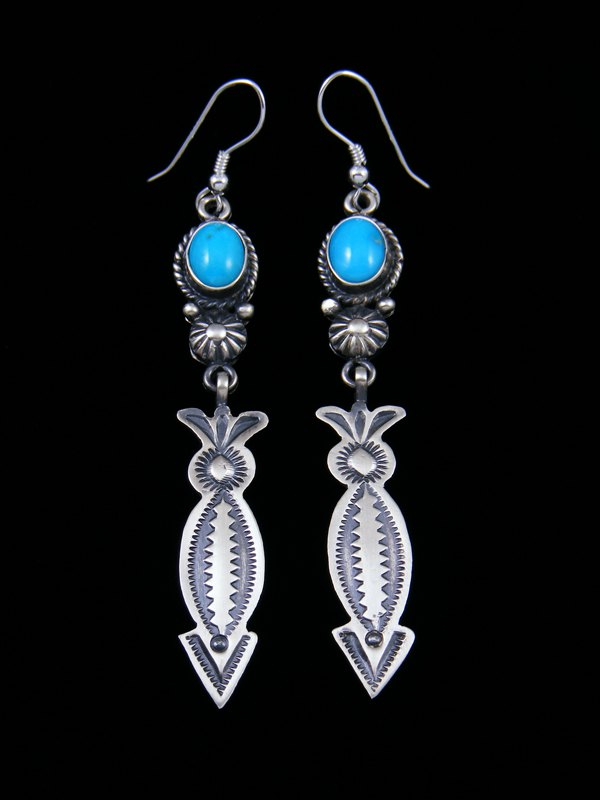 Navajo Sterling Silver Turquoise Dangle Earrings