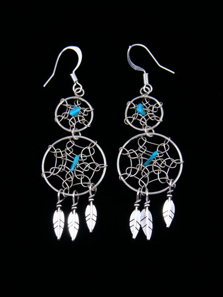 Navajo Sterling Silver Double Dreamcatcher Feather Earrings
