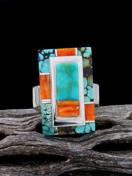 Navajo Turquoise Inlay Ring, Size 9