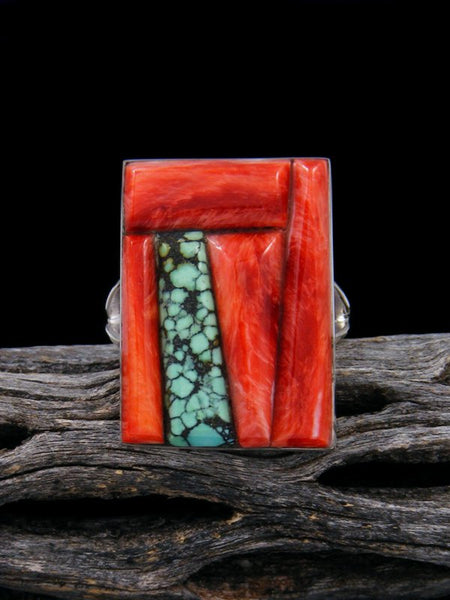Navajo Turquoise Inlay Ring, Size 9 1/2