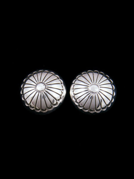 Navajo Sterling Silver Stamped Clip-On Disc Earrings