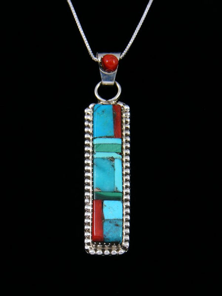 Native American Sterling Silver Zuni Inlay Turquoise Pendant