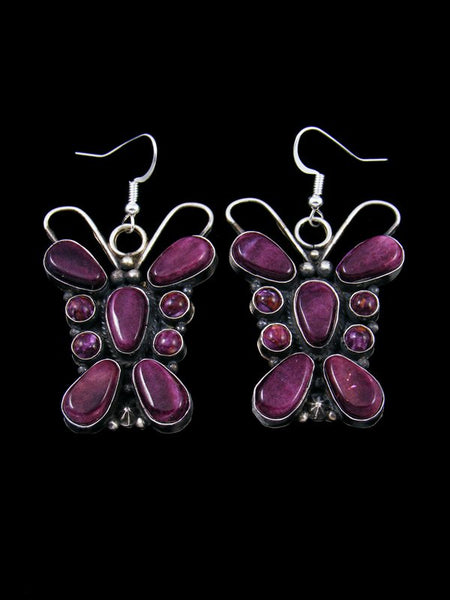 Navajo Spiny Oyster Sterling Silver Dangle Butterfly Earrings