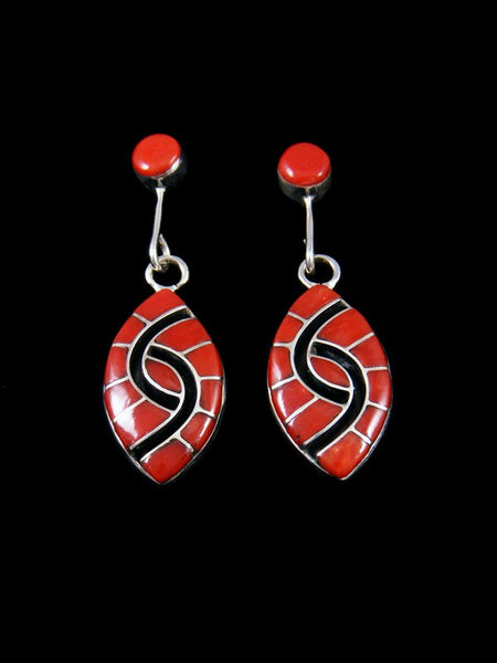 Sterling Silver Zuni Coral Inlay Earrings