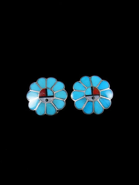Zuni Inlay Turquoise Sunface Post Earrings