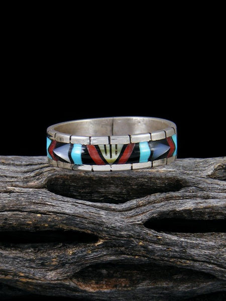 Turquoise and Coral Zuni Inlay Ring 9.5