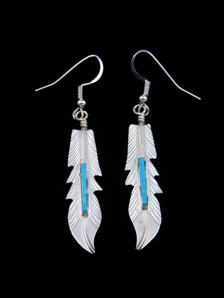 Navajo Sterling Silver Turquoise Inlay Feather Dangle Earrings