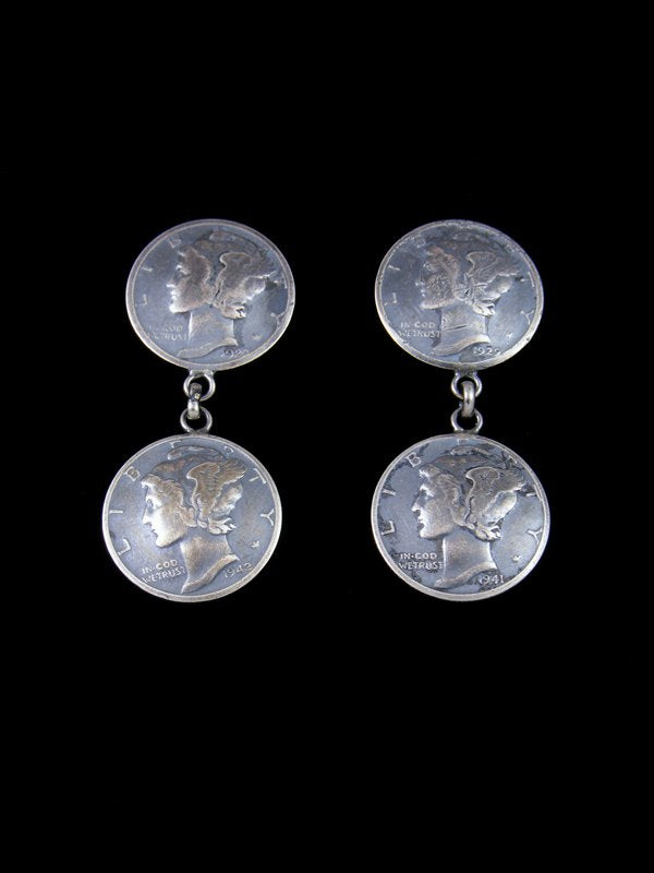 Navajo Winged Liberty Head Dime Sterling Silver Post Earrings