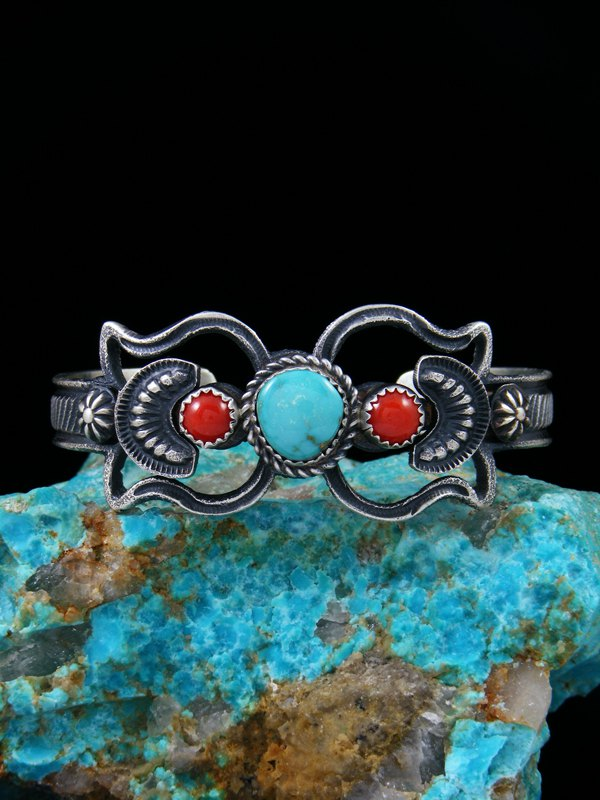 Native American Sterling Silver Sandcast Turquoise and Coral Bracelet
