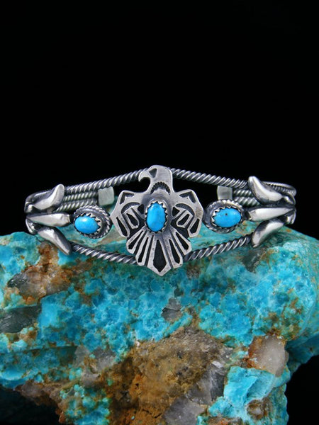 Navajo Indian Sterling Silver Turquoise Thunderbird Cuff Bracelet