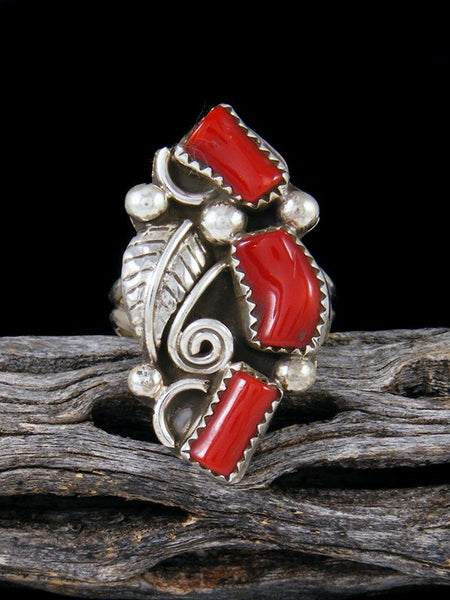Natural Coral Ring, Size 10