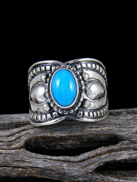 Native American Sleeping Beauty Turquoise Sterling Silver Ring, Size 7