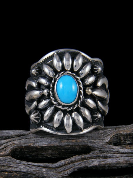 Turquoise Repousse Men's Ring, Size 9 1/2