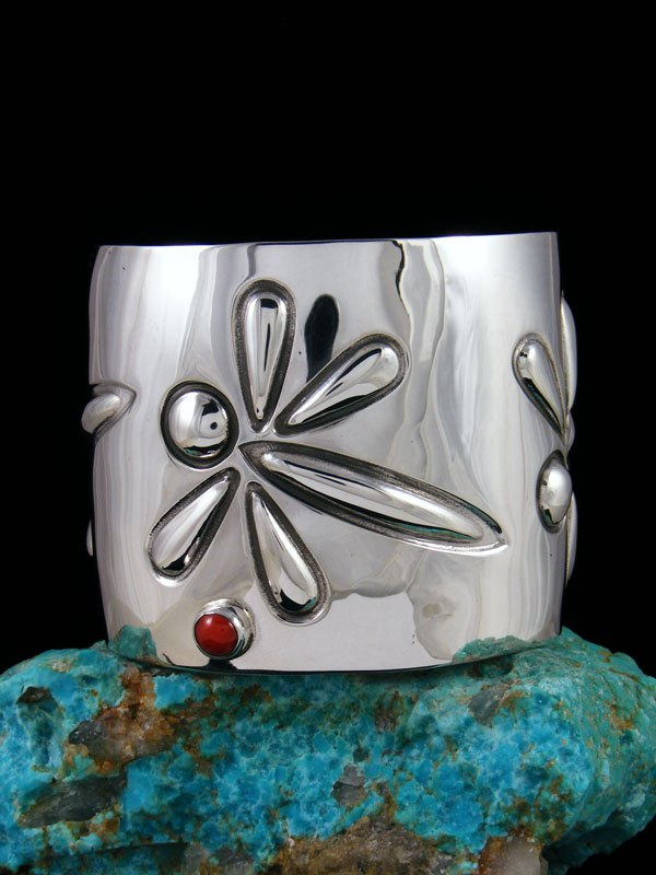 Navajo Sterling Silver Natural Coral Dragonfly Cuff Bracelet