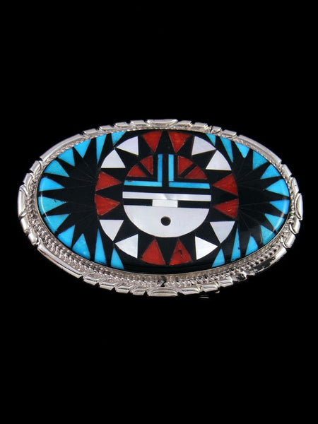 Sterling Silver Zuni Inlay Sunface Belt Buckle