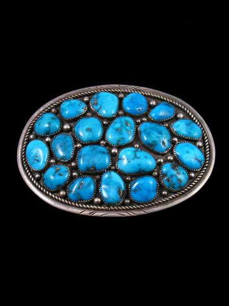 Estate Native American Turquoise Sterling Silver Buckle