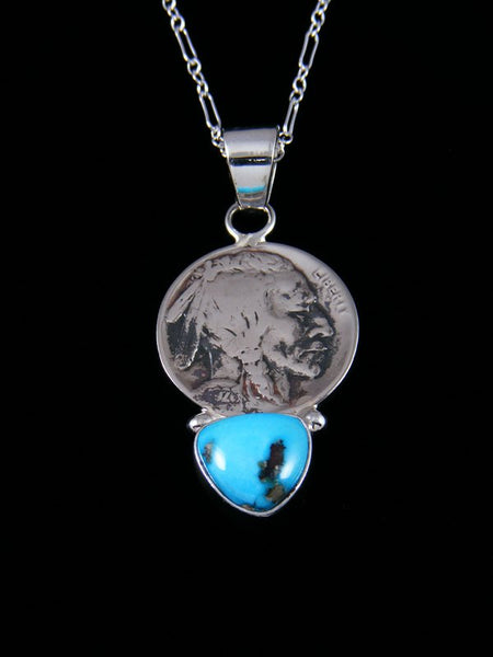 Native American Sleeping Beauty Turquoise Indian Head Nickel Pendant