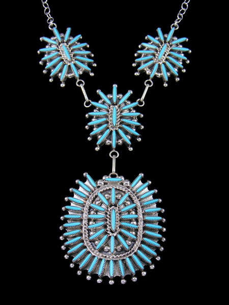 Turquoise Needlepoint Sterling Silver Zuni Necklace Set