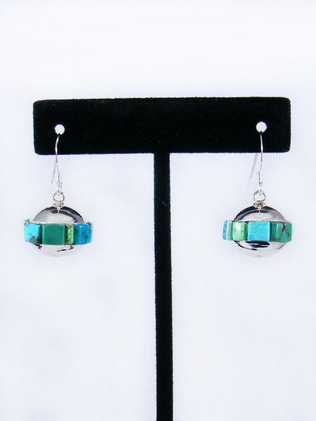 Cobblestone Turquoise Inlay Dangle Earrings