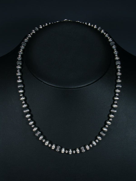 "Navajo 20"" Sterling Silver Bead Choker Necklace"