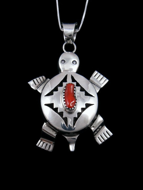 Native American Sterling Silver Coral Turtle Pendant