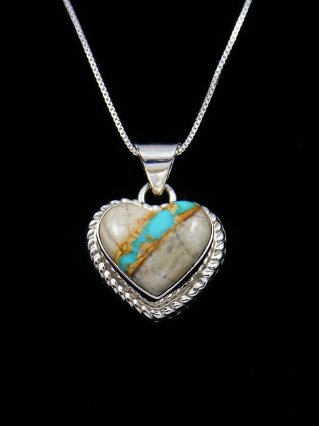 Native American Indian Jewelry Boulder Turquoise Heart Pendant