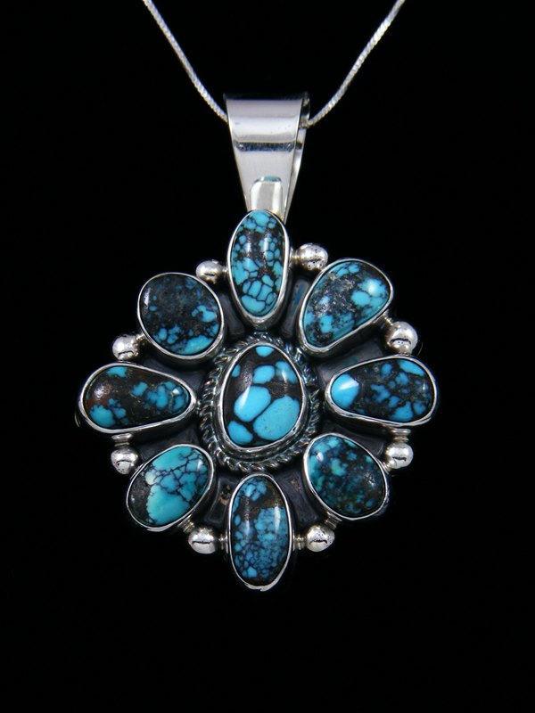 Navajo Cloud Mountain Turquoise Sterling Silver Pendant