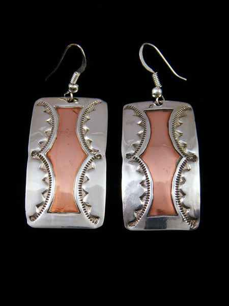 Sterling Silver and Copper Dangle Earrings